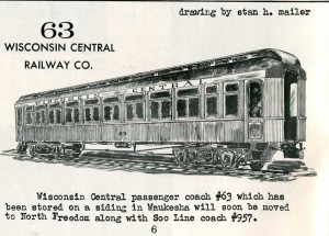 Drawing of Wisconsin Central coach #63