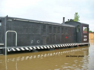 #1256 during the catastrophic flood, June 11, 2008. She has since had her running gear completely rebuilt. Jim Connor photo.