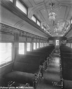 Builders photo of interior of Wisconsin Central #64, similar to MCRM's WC #63.  Pullman photo, MCRM collection